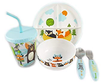 Deluxe Kid Friendly 5 pc Cute Animal Decal Dinnerware Set, BPA Free with Anti-Slip Rubber by Pillowfort (Blue)