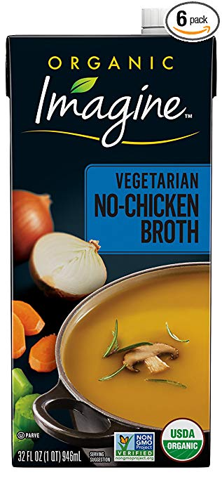 Imagine Organic No-Chicken Broth, 32 Fl Oz (6 Pack) (Packaging May Vary)